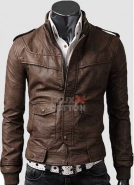 Slim Fit Rocker Light Brown Cowhide Leather Jacket