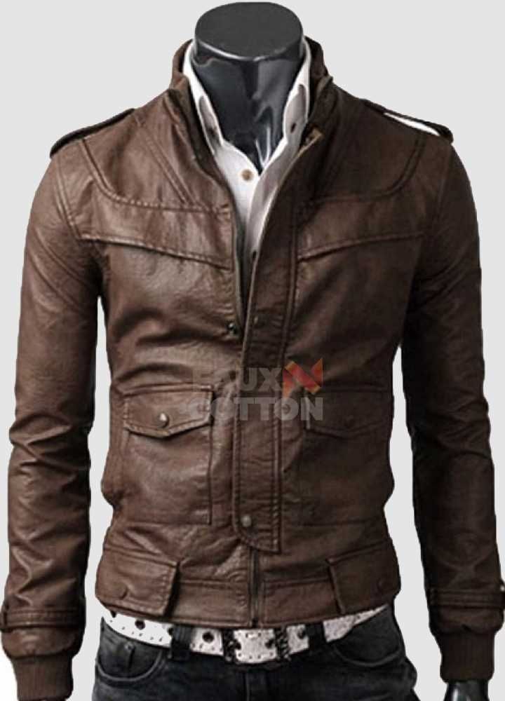 Slim Fit Rocker Light Brown Leather Jacket