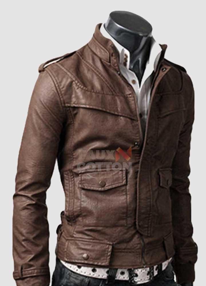 Slim Fit Rocker Light Brown Cowhide Leather Jacket