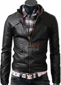 Slim Fit Strap Black Cowhide Leather Jacket