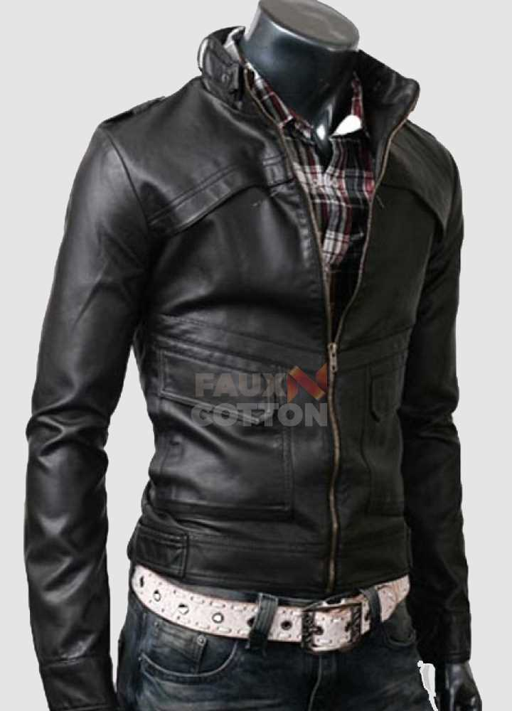 Slim Fit Strap Black Leather Jacket
