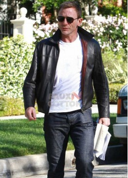 Layer Cake Daniel Craig Black Leather Jacket