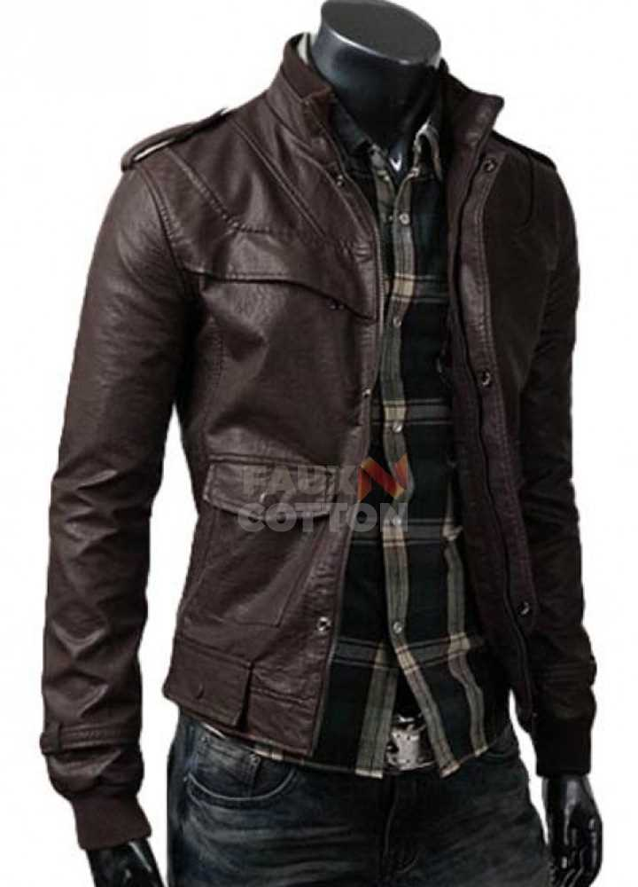 Slim Fit Rocker Brown Bomber Leather Jacket