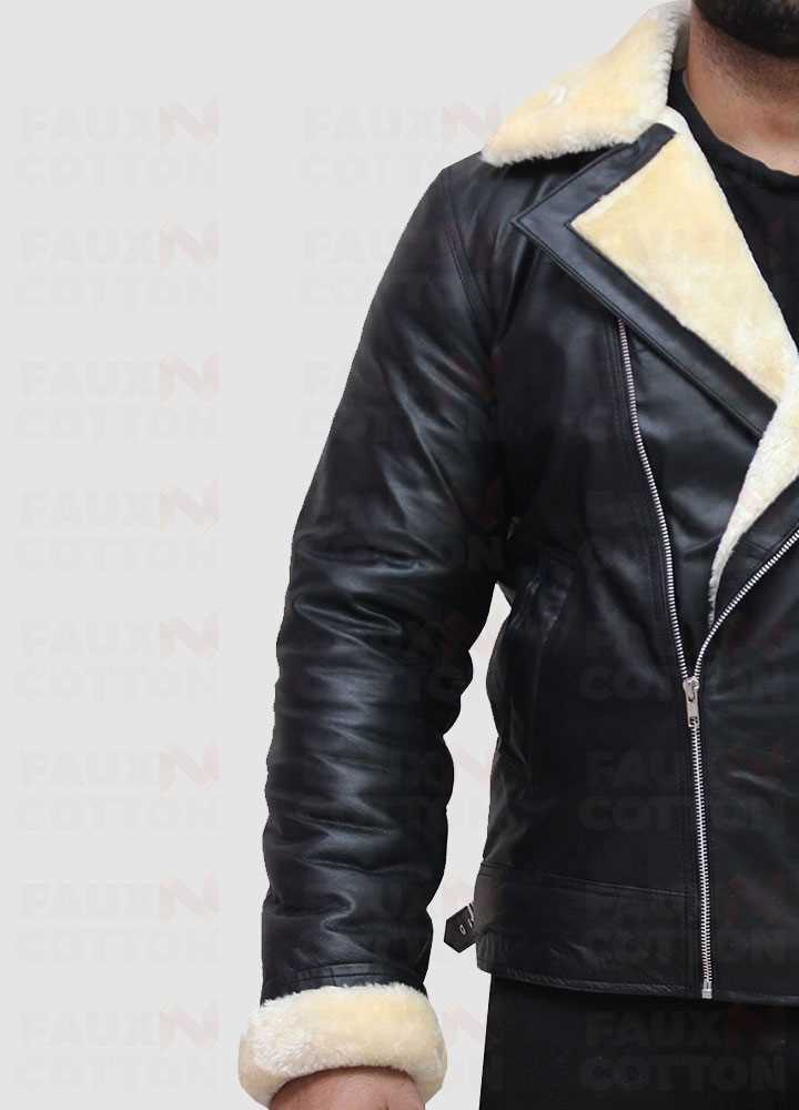 B3 Black Lambskin Bomber Leather Jacket