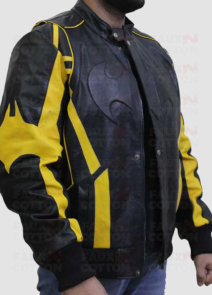 Batman X Men Motorcycle Black Yellow Leather Jacket