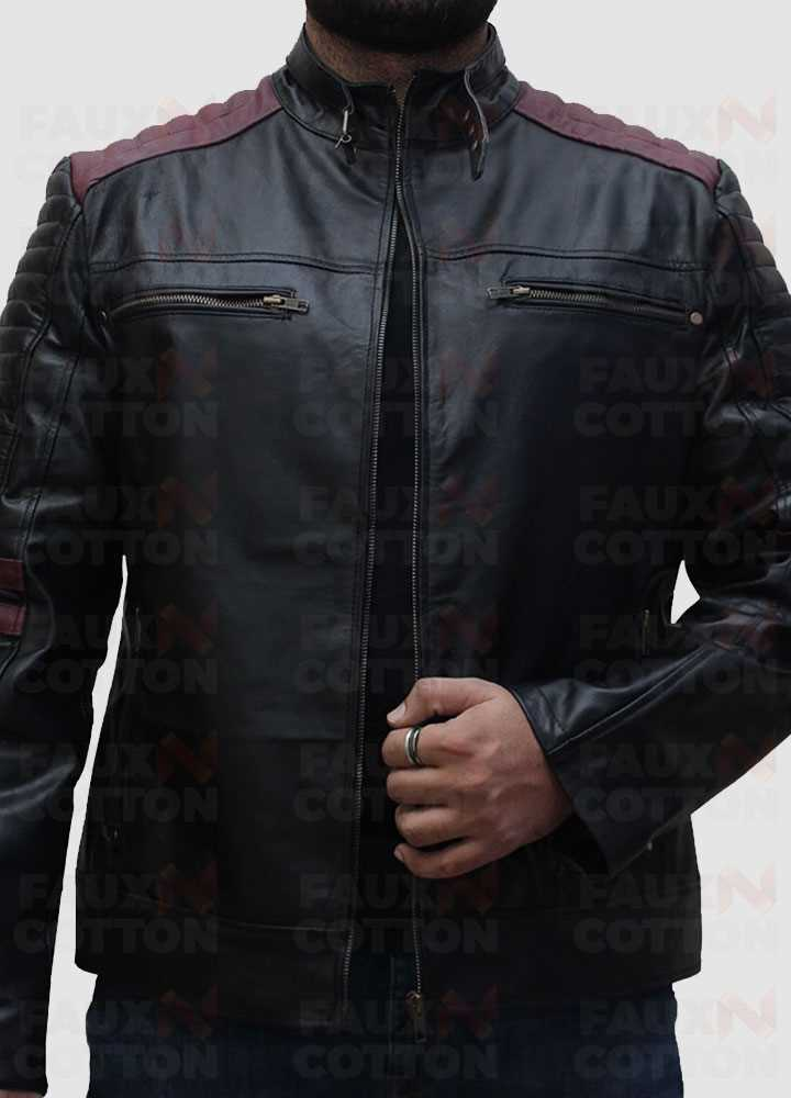 Cafe Racer Jacket With Maroon Stripes