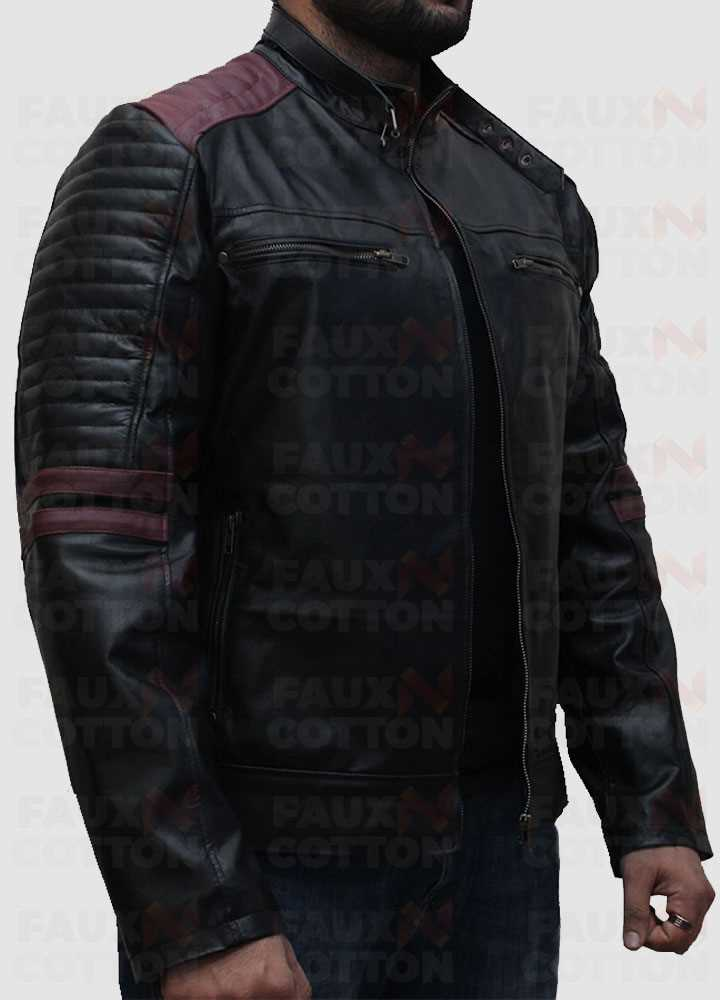 Cafe Racer Black Leather Jacket With Maroon Stripes