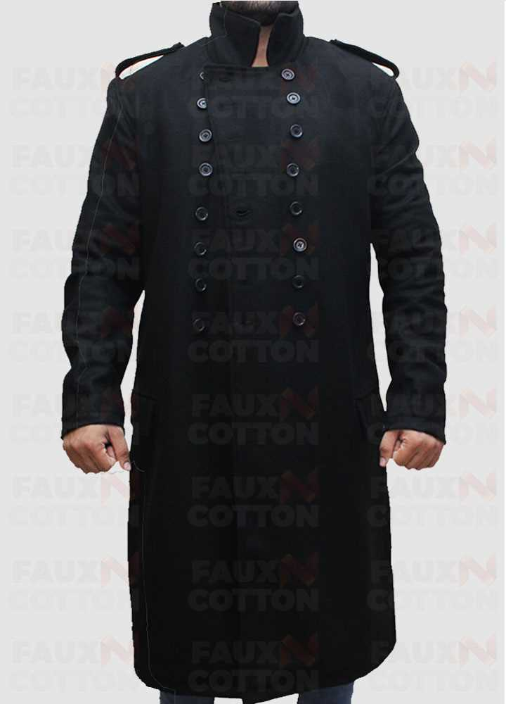 Fall David Beckham Style Men Long Casual Black Pea Coat