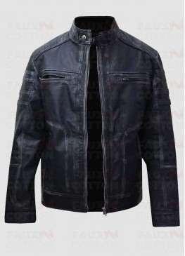 Men's Antique Blue Distressed Cafe Racer Cowhide Jacket