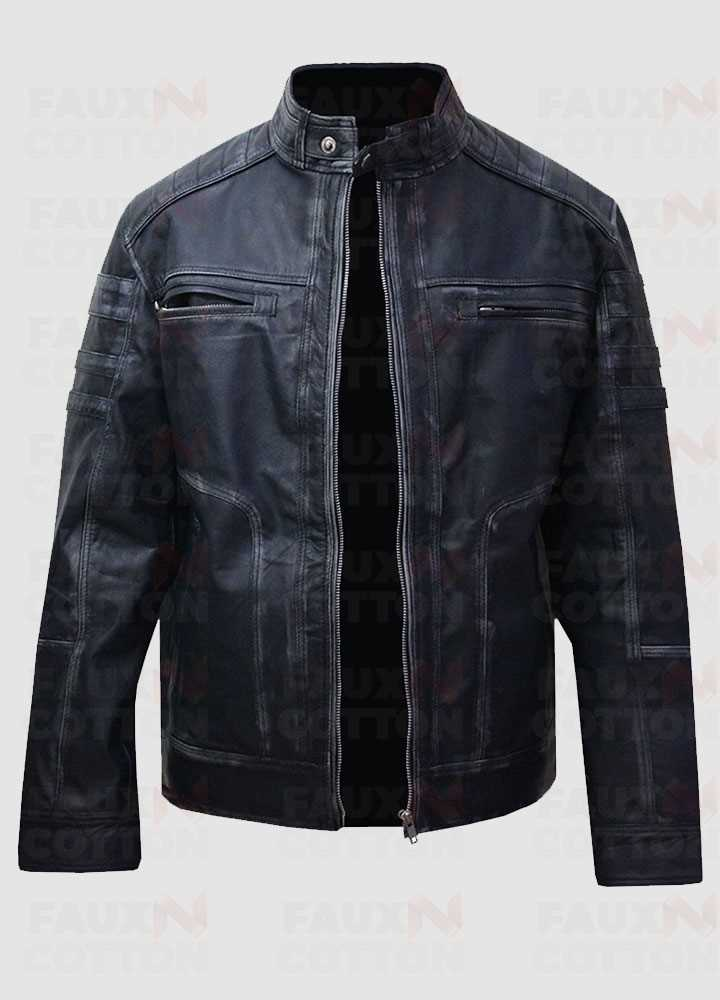 Men's Antique Blue Distressed Cafe Racer Jacket