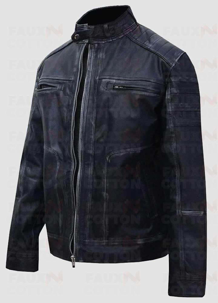 Men's Antique Blue Distressed Cafe Racer Cowhide Jacket