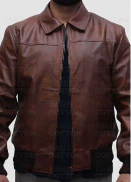Shirt Collar Slim Fit Brown Leather Jacket