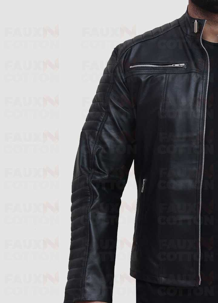 Vintage cafe racer quilted slim fit jacket