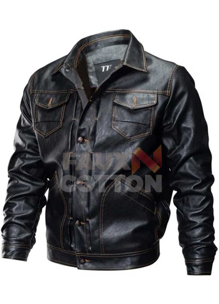 Men's Shirt Collar Leather Motorcycle  Coat