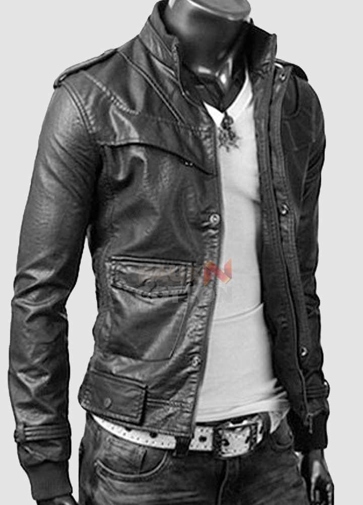 Slim Fit Rocker Bomber Black Leather Jacket