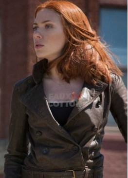 Captain America Scarlett Johansson Brown Jacket