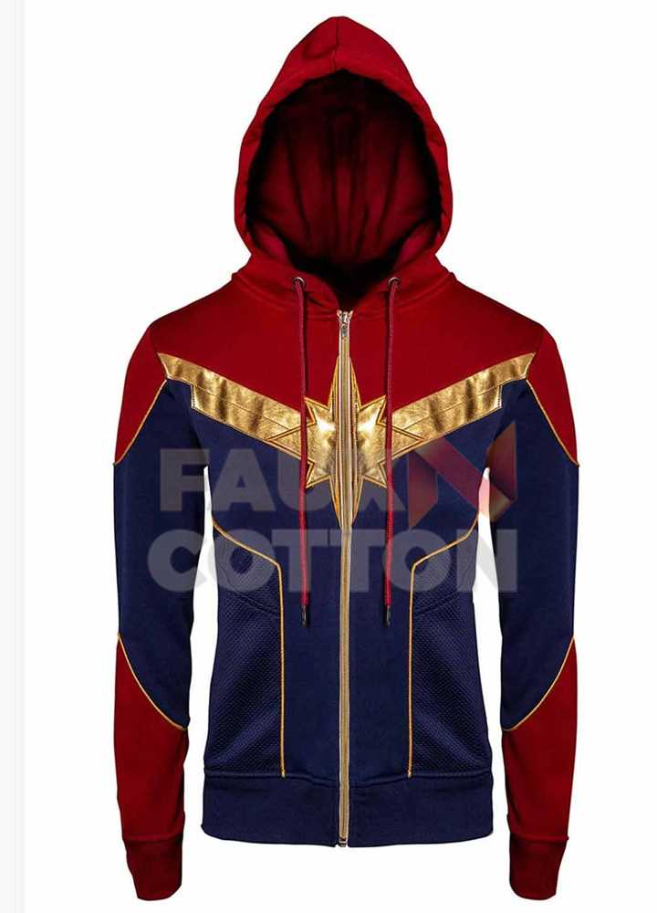 CAPTAIN MARVEL CAROL DANVERS RED AND BLUE HOODIE JACKET