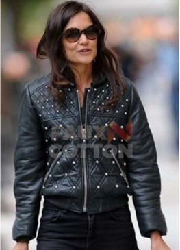 KATIE HOLMES QUILTED STUDDED JACKET