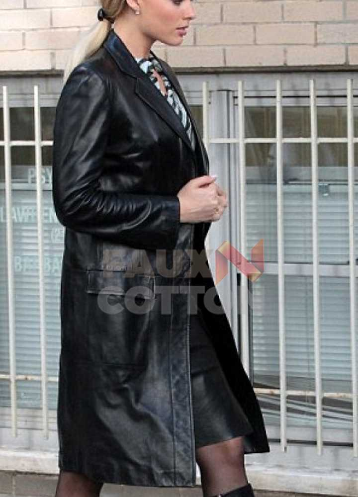MARGOT ROBBIE BLACK TRENCH COAT