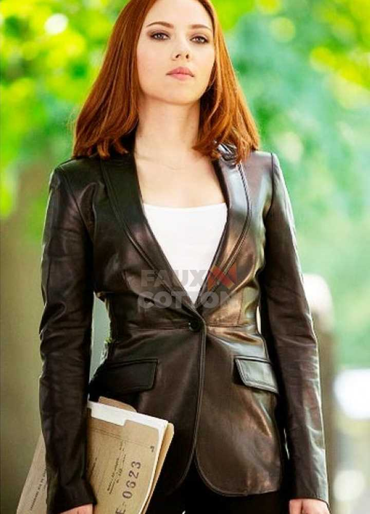 Captain America Black Widow Leather Blazer