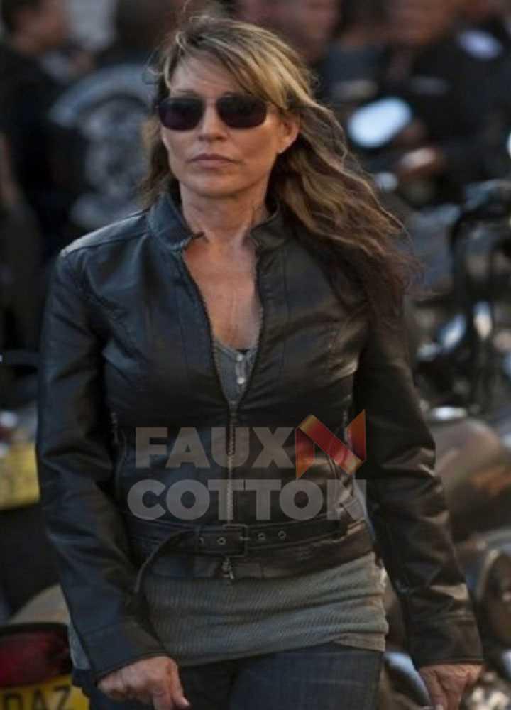 Sons of Anarchy Katey Sagal Black Leather Jacket