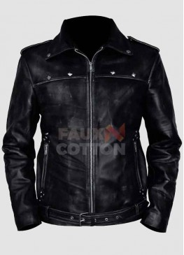 A Long Way Down Aaron Paul Black Leather Jacket