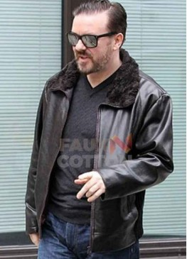 After Life Ricky Gervais Brown Leather Jacket