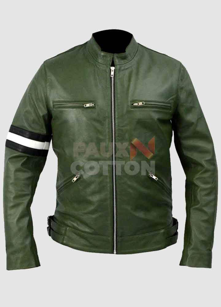 Dirk Gently's Samuel Barnett Green Leather Jacket