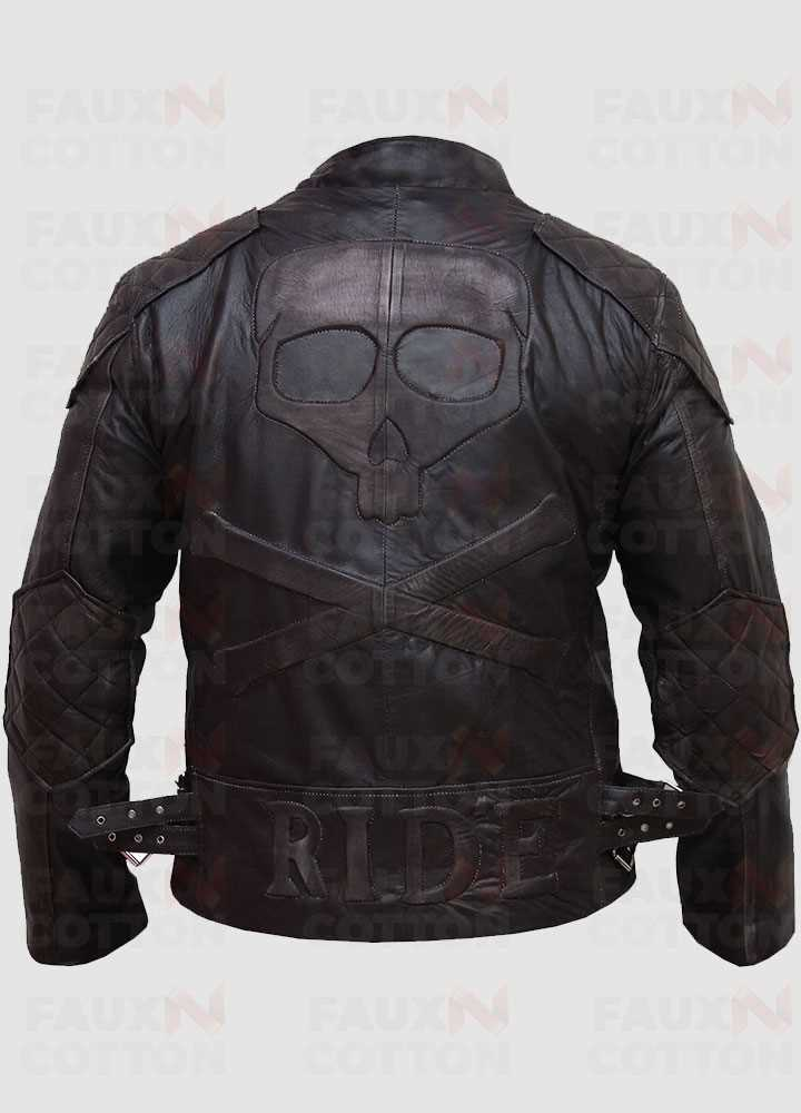 Men Motorcycle Skull Embossed Distressed Leather Jacket