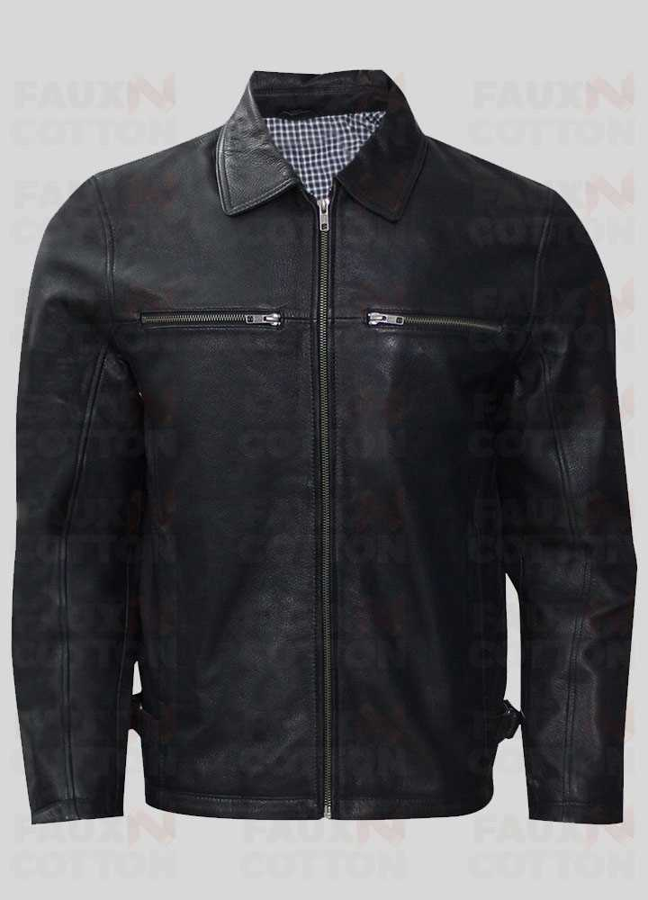 Slim Fit Shirt Style Collar Leather Jacket
