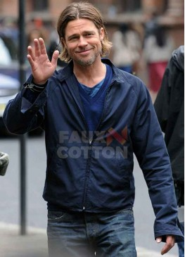 World War Z Brad Pitt Blue Jacket