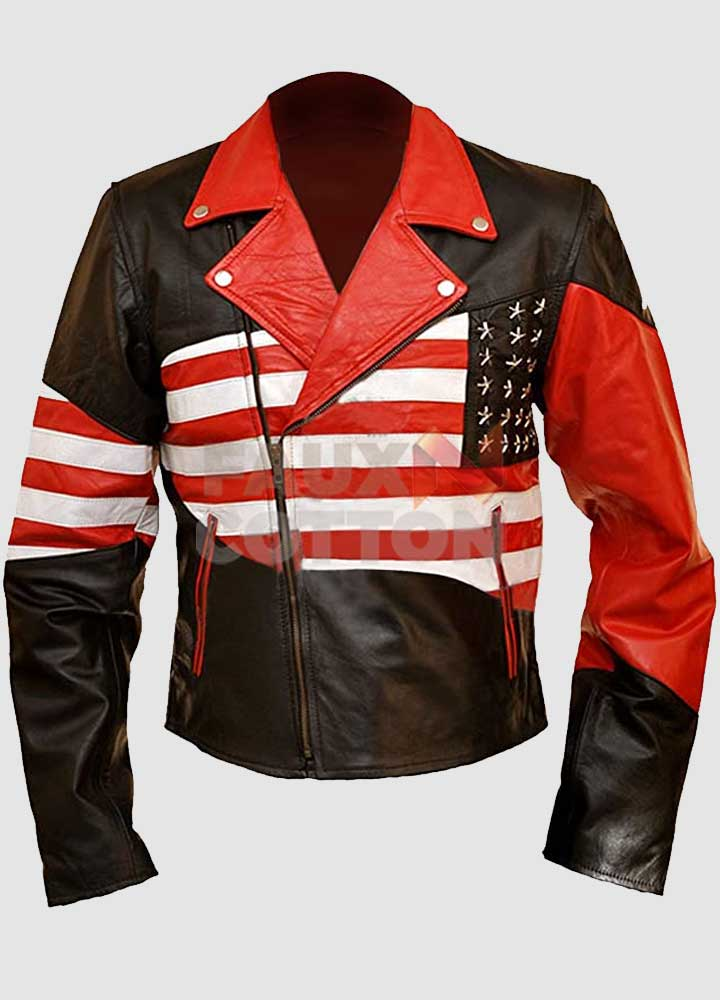 American Flag Men Independence Day Leather Jacket