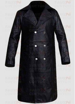 German Classic Officer Black Leather Trench Coat