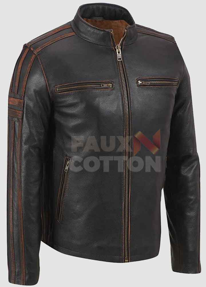 Men's Cafe Racer Stripe Brown Leather Jacket