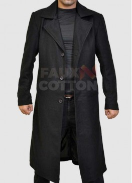 Slim FIt Mens Black Trench Coat