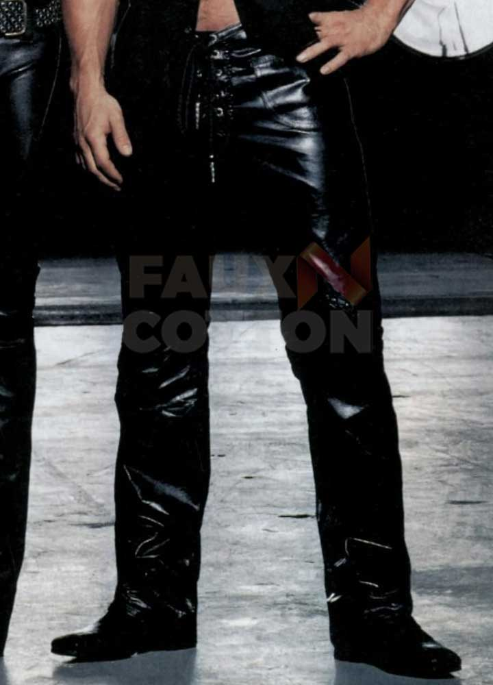 Mark Wahlberg Star Black Leather Pant