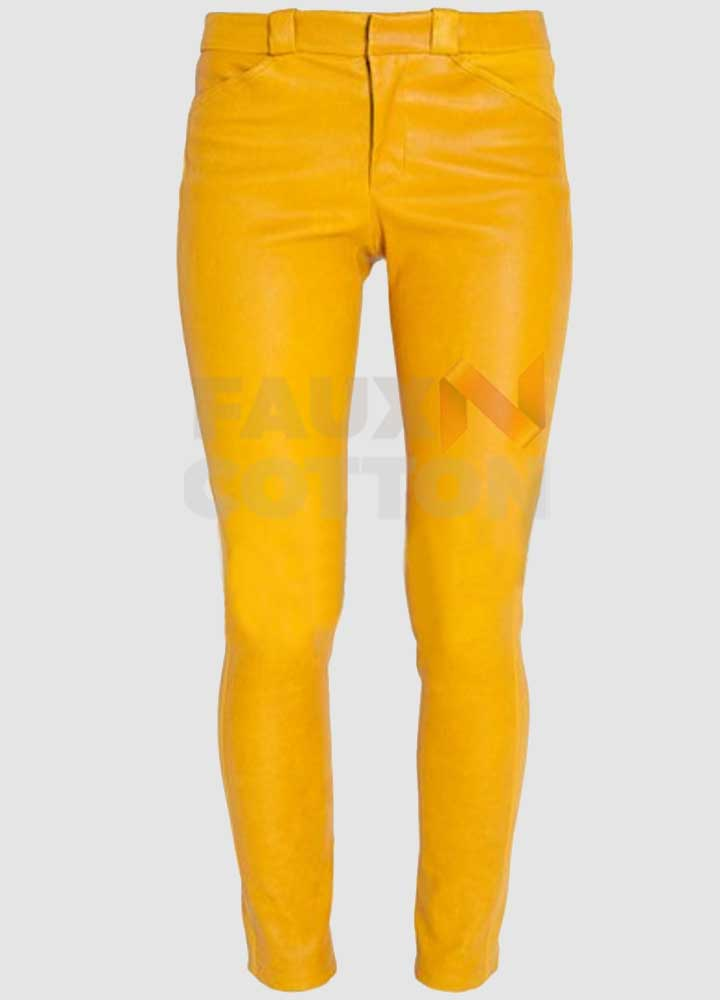 Women's Slim Fit Yellow Leather Pant