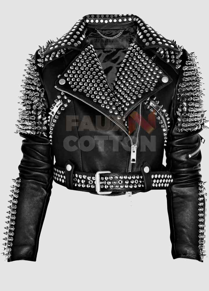Britney Spears Black Spike Leather Jacket