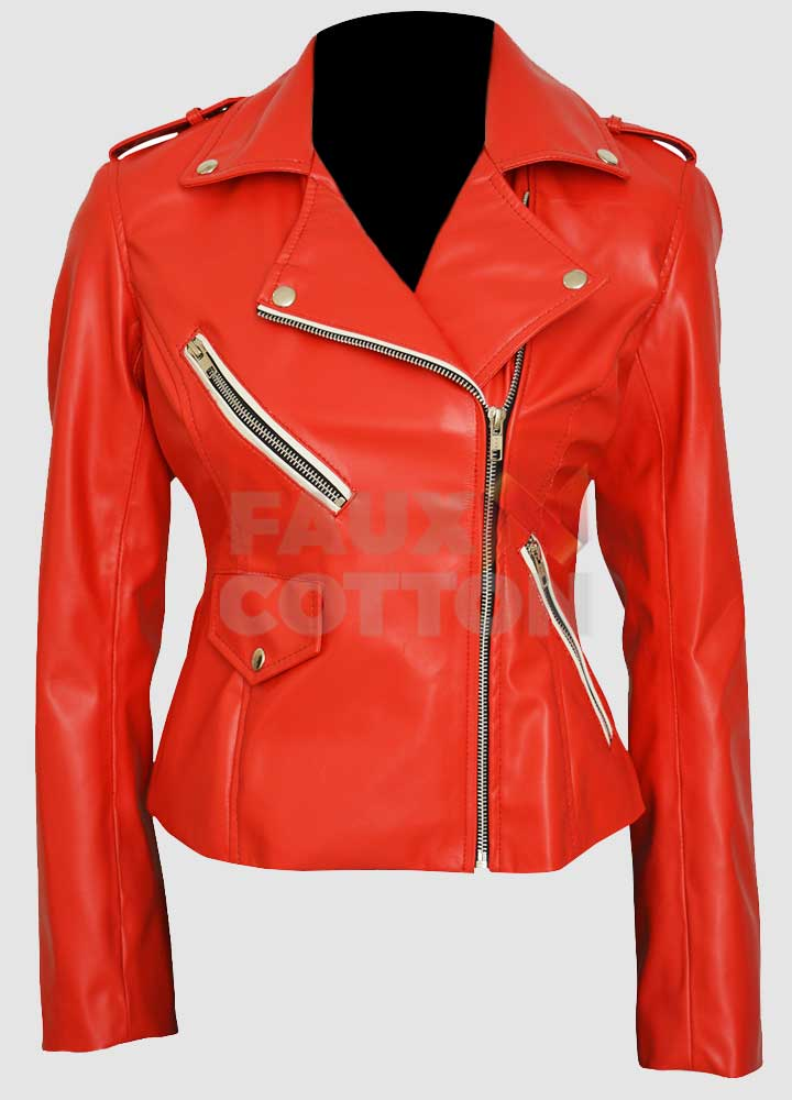 Charlotte McKinney Red Biker Leather Jacket