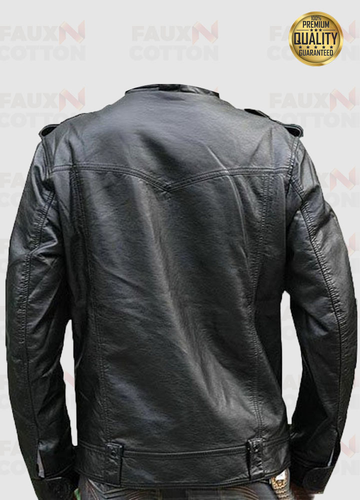 Mens Banded Collar Black Biker Leather Moto Jacket