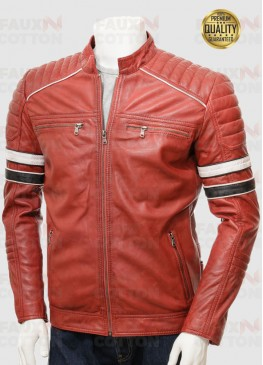 MENS RED RETRO RACING LEATHER JACKET
