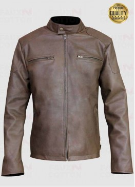 Vintage Slim Fit Light Brown Leather Jacket