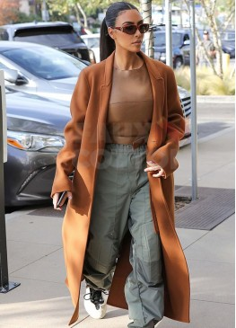 Kim Kardashian Brown Long Wool Coat
