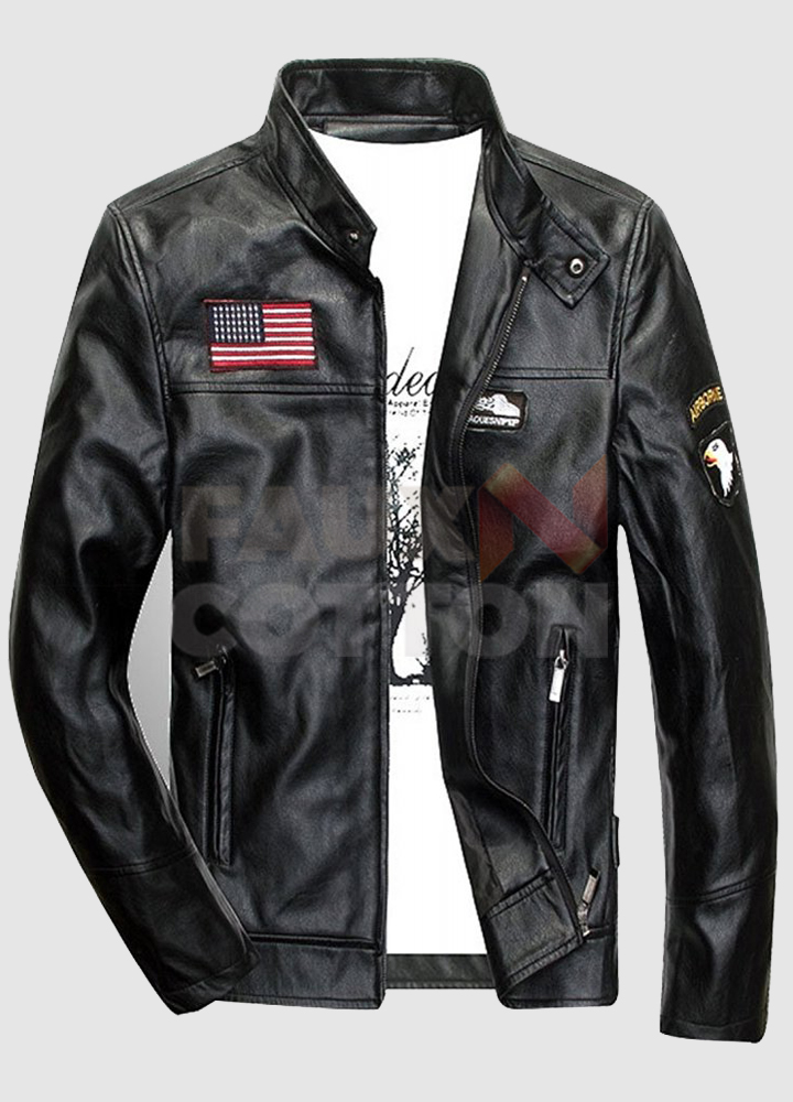 BLACK AIR FORCE FLIGHT MA-1 LEATHER JACKET