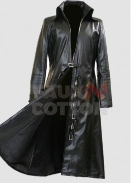 Steampunk Gothic Mens Long Black Trench Coat