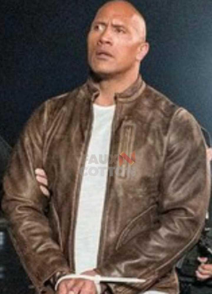 Dwayne Johnson Rampage Distressed Brown Leather Jacket
