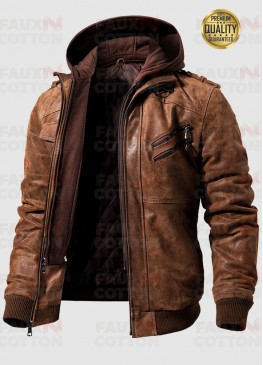 M2016-95 Flavor Men's Brown Leather Bomber Moto Jacket with Removable Hood