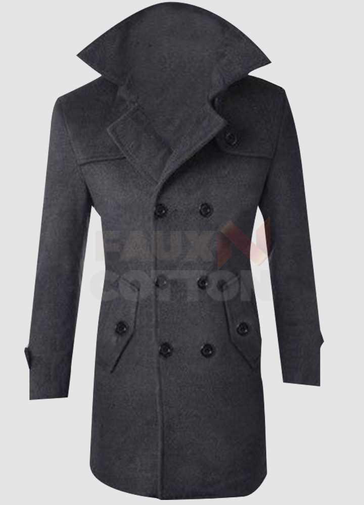 Men Windproof Slim Fit Pea Coat Overcoat