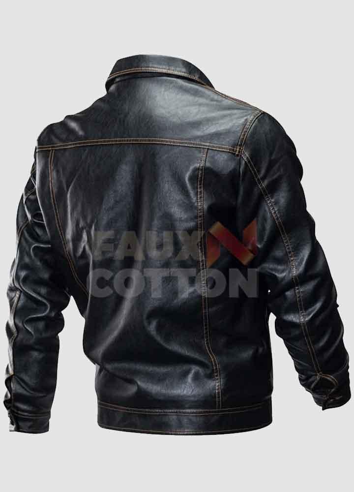 Men's Shirt Collar Leather Motorcycle  Jacket